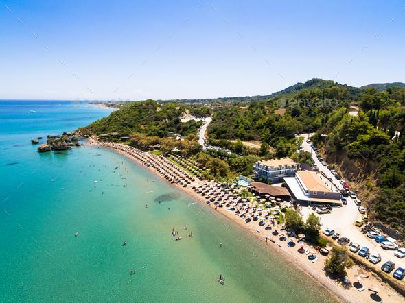 Aerial  view of Porto Zorro  Azzurro beach in Zakynthos (Zante) - Stock Photo - Images