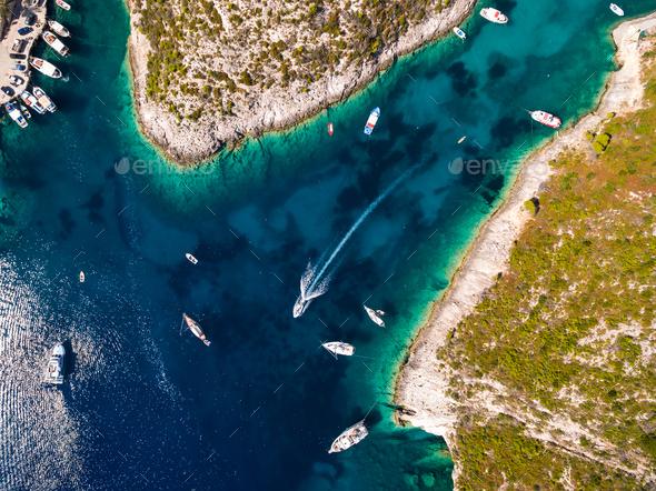 Aerial  view of Porto Vromi beach in Zakynthos (Zante) island, i - Stock Photo - Images