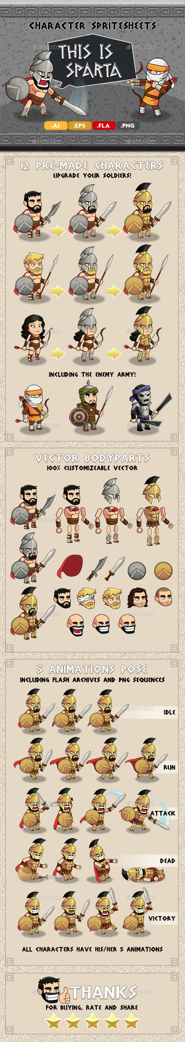 GraphicRiver This is Sparta Character Spritesheet 20505121
