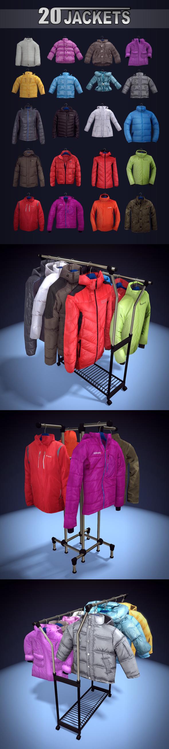 20 jackets - 3DOcean Item for Sale