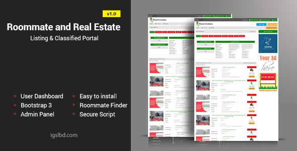 Roommate and Real Estate Listing Classified Responsive Web Application - CodeCanyon Item for Sale