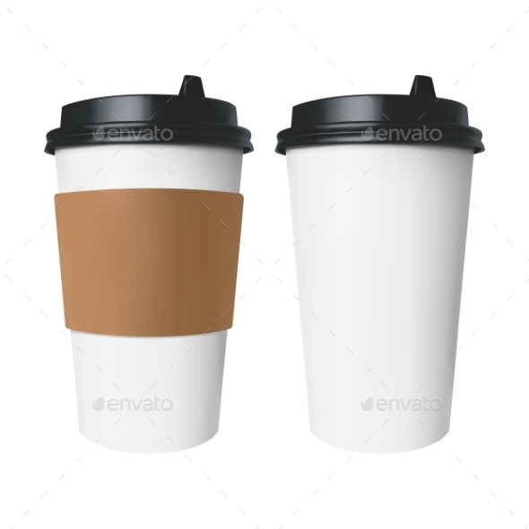 GraphicRiver White Paper Cup with a Brown Cover with Label 20522690