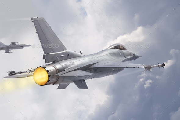 F-16 Falcon Jet Fighters in Clouds - Stock Photo - Images