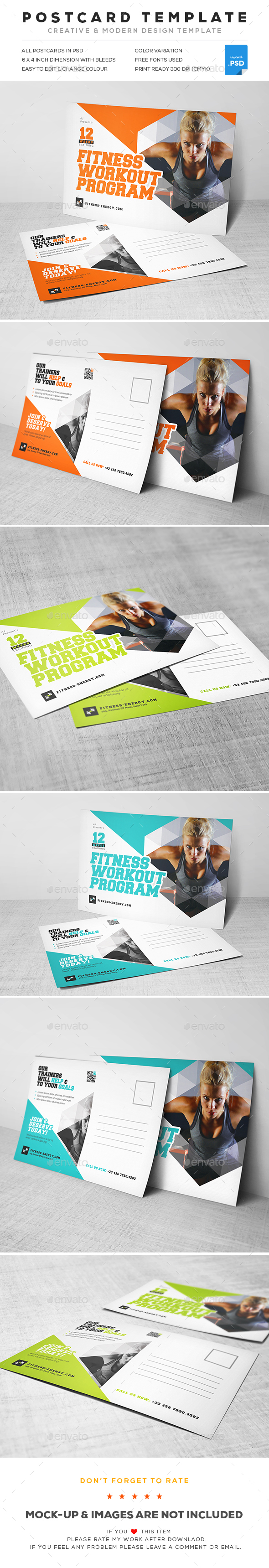 Gym Postcard - Cards & Invites Print Templates