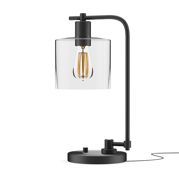 Black Desk Lamp with Glass Shade - 3DOcean Item for Sale