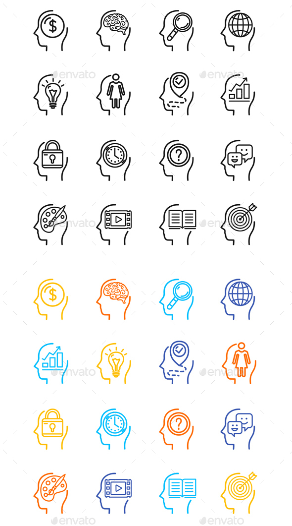 GraphicRiver Symbol Human Mind Color Thin Line Icon Set 20523424