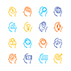 Symbol Human Mind Color Thin Line Icon Set