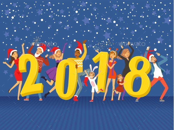 GraphicRiver Happy New Year 2018 Party People Celebrating 20523454