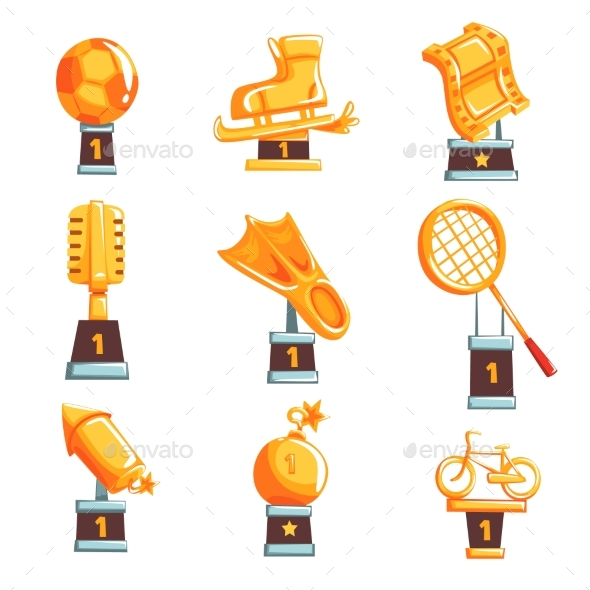 GraphicRiver Cartoon Golden Trophy Cups and Awards 20523487