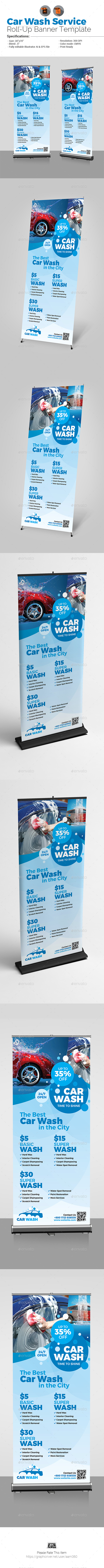 Car wash Roll-Up Banner Template - Signage Print Templates