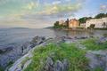 First Morning Sunlight at Volosko Beach Opatija Croatia - PhotoDune Item for Sale