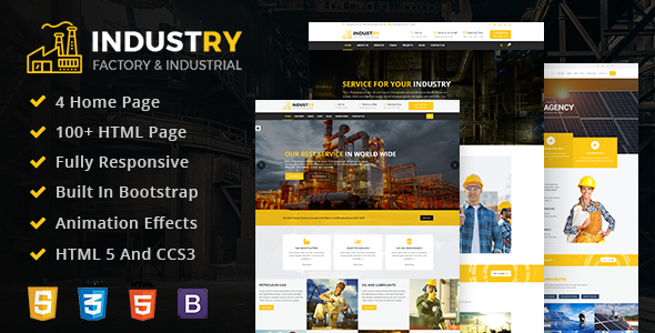 Industry - Factory & Industrial HTML Mobile Responsive Template For Business