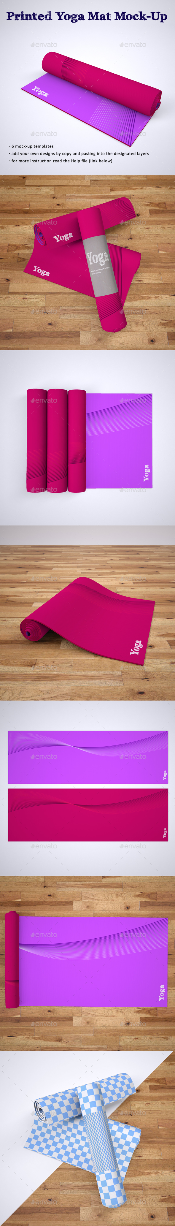 Printed Yoga Mat Exercise Rug Mock-Up - Miscellaneous Print