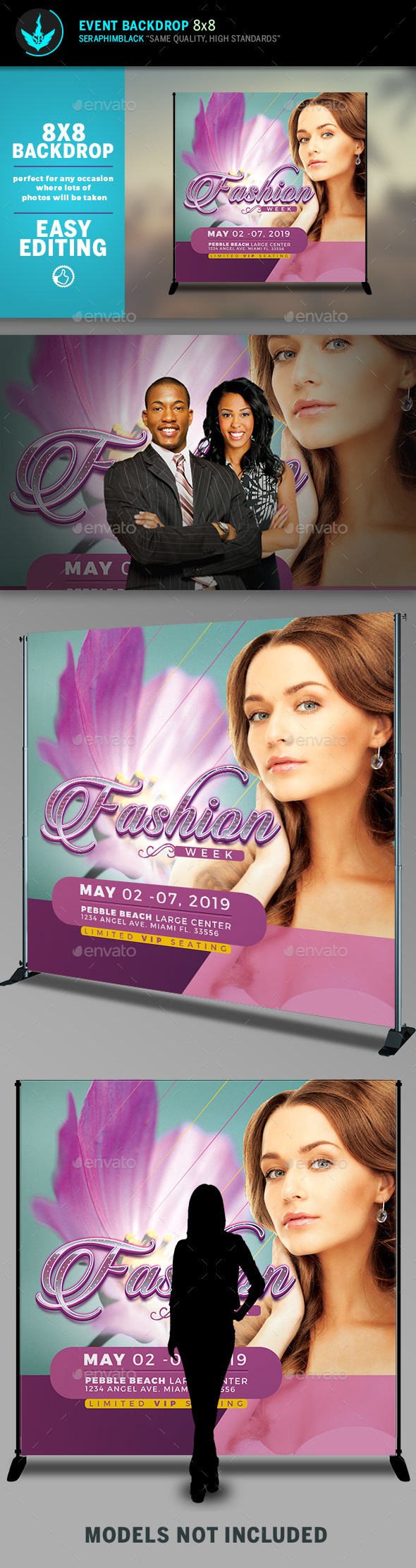 Fashion Week 8x8 Event Backdrop Template - Signage Print Templates