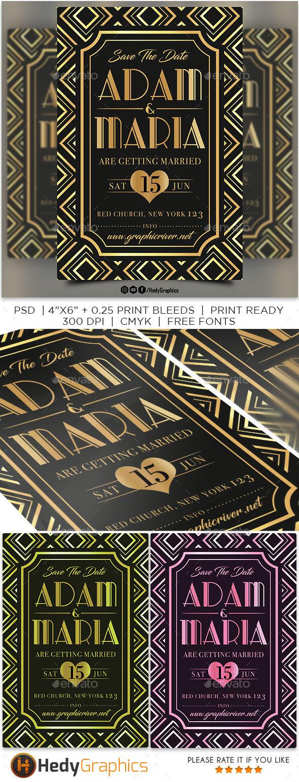 Art Deco Wedding Invitation - Weddings Cards & Invites