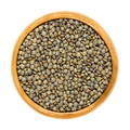 Puy lentils in wooden bowl over white - PhotoDune Item for Sale