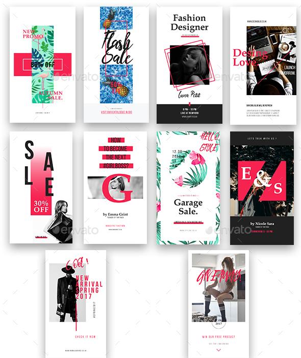 10 Modern Fashion Instagram Stories Template - Social Media Web Elements