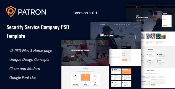 Patron - Security Service Company PSD Template
