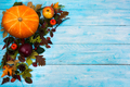 Happy Thanksgiving  greeting with fall leaves on blue wooden bac - PhotoDune Item for Sale