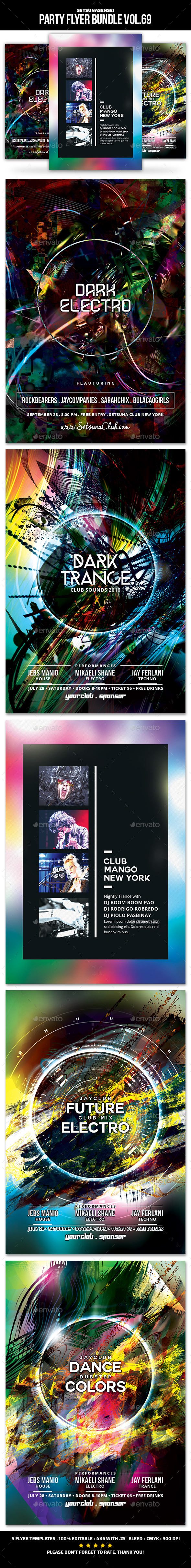 Party Flyer Bundle Vol.69 - Clubs & Parties Events
