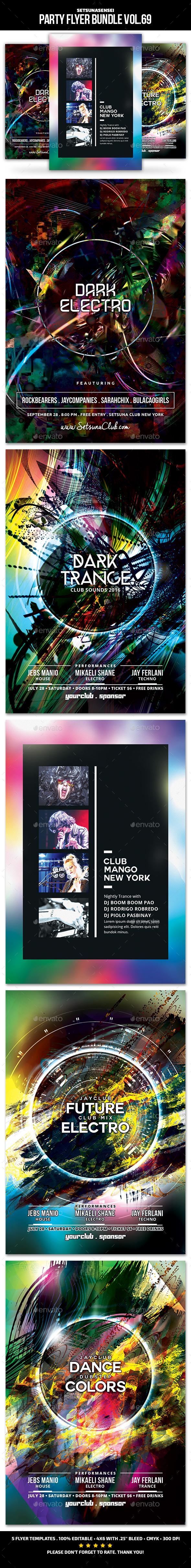 Party Flyer Bundle Vol.70 - Clubs & Parties Events