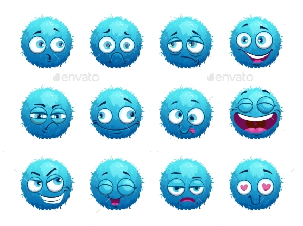 GraphicRiver Funny Blue Round Characters Set 20524934