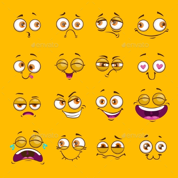 GraphicRiver Funny Cartoon Comic Faces on Yellow Background 20524960