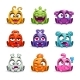 Funny Cartoon Colorful Glossy Aliens Set.