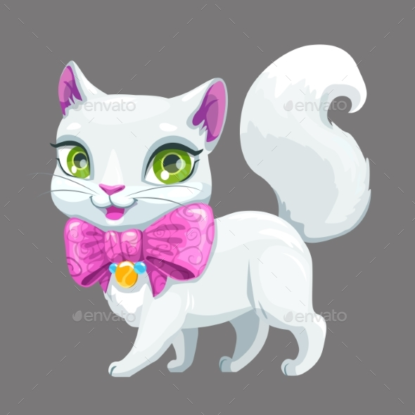 Cartoon Fluffy White Cat Icon. - Animals Characters