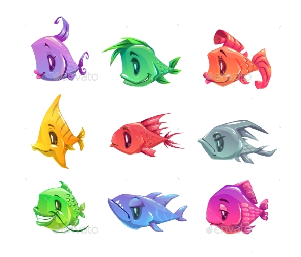 Cartoon Colorful Fishes Set. - Animals Characters