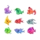 Cartoon Colorful Fishes Set.