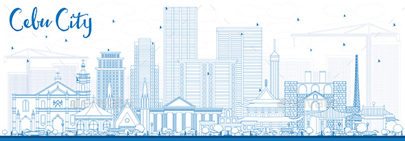 Outline Cebu City Philippines Skyline with Blue Buildings. - Buildings Objects