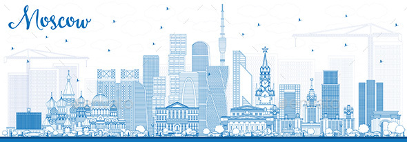 Outline Moscow Russia Skyline with Blue Buildings. - Buildings Objects