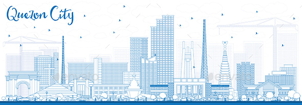 Outline Quezon City Philippines Skyline with Blue Buildings. - Buildings Objects