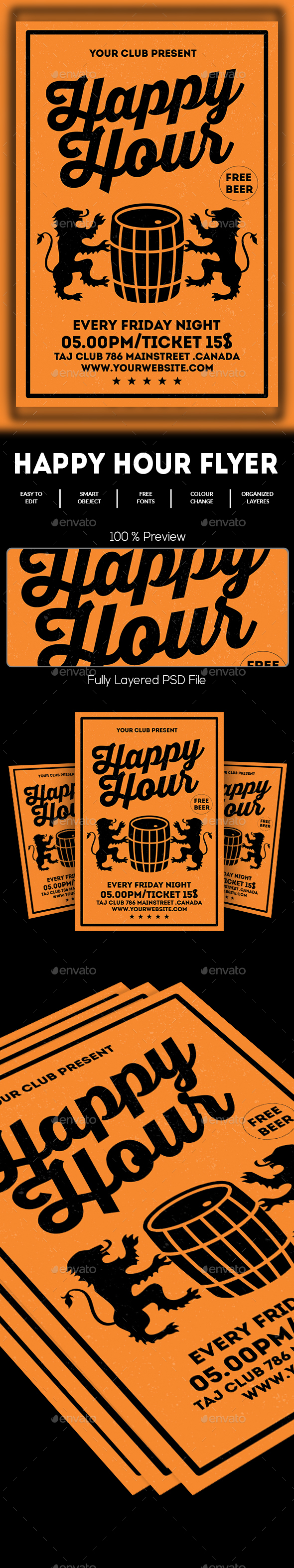 GraphicRiver Happy Hour Flyer 20525010