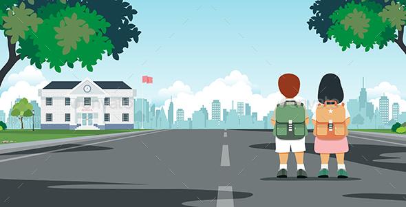 GraphicRiver Students Walk to School 20525043