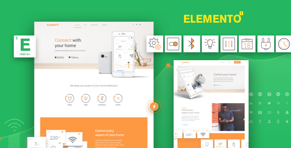 Download Elemento - Landing Page for Apps - Sketch Template            nulled nulled version