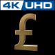 Pound Sign in Gold With 360 Rotation ln Ultra HD