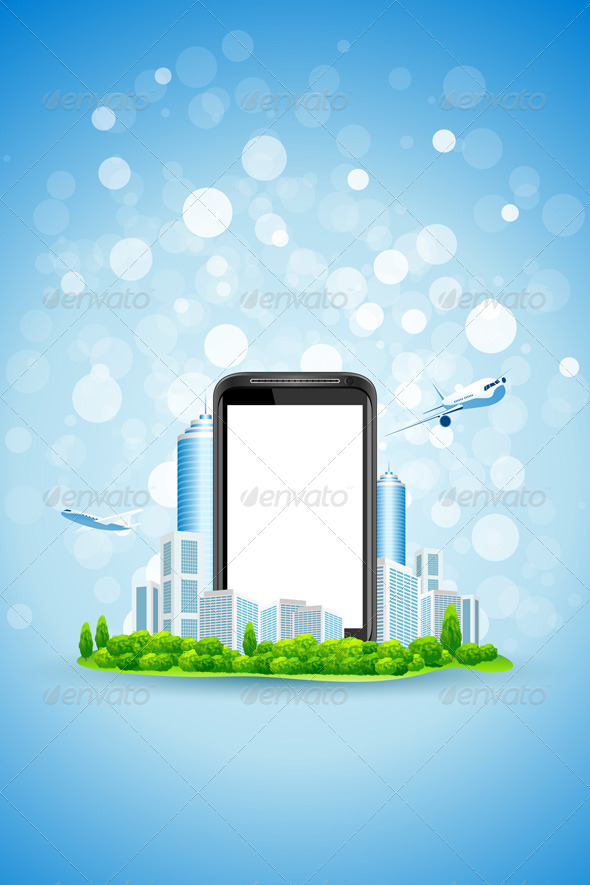 Blue Background with City and Empty Phone Screen - Backgrounds Business