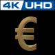 Euro Sign in Gold With 360 Rotation