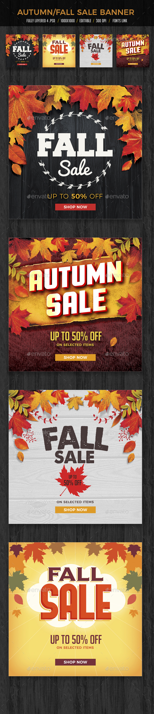 Autumn Fall Sale Banners Set 2 - Banners & Ads Web Elements