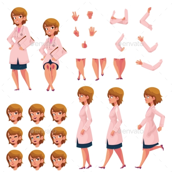 Woman, Doctor in Medical Coat Creation Set - People Characters