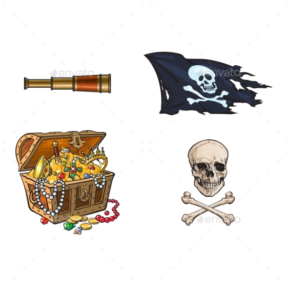 Vector Cartoon Pirates Symbols Set Isolated - Objects Vectors