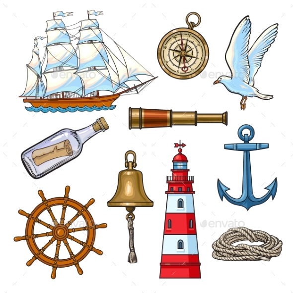 Cartoon Nautical Elements, Vector Illustration - Miscellaneous Vectors