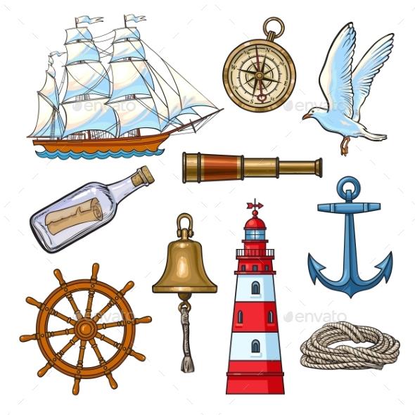 GraphicRiver Cartoon Nautical Elements Vector Illustration 20526064