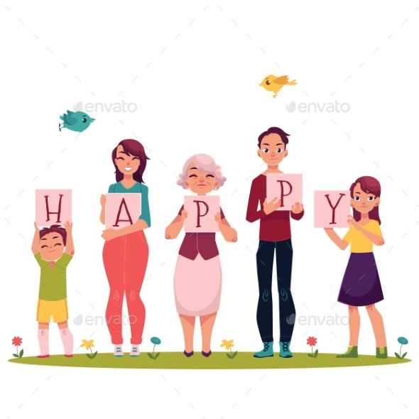 GraphicRiver Family Members Holding Letters of the Word Happy 20526065