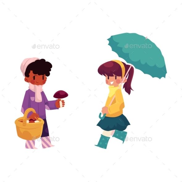 Vector Children Doing Autumn Activity Set - People Characters