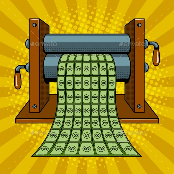GraphicRiver Printing Machine Prints Money Pop Art Vector 20526125