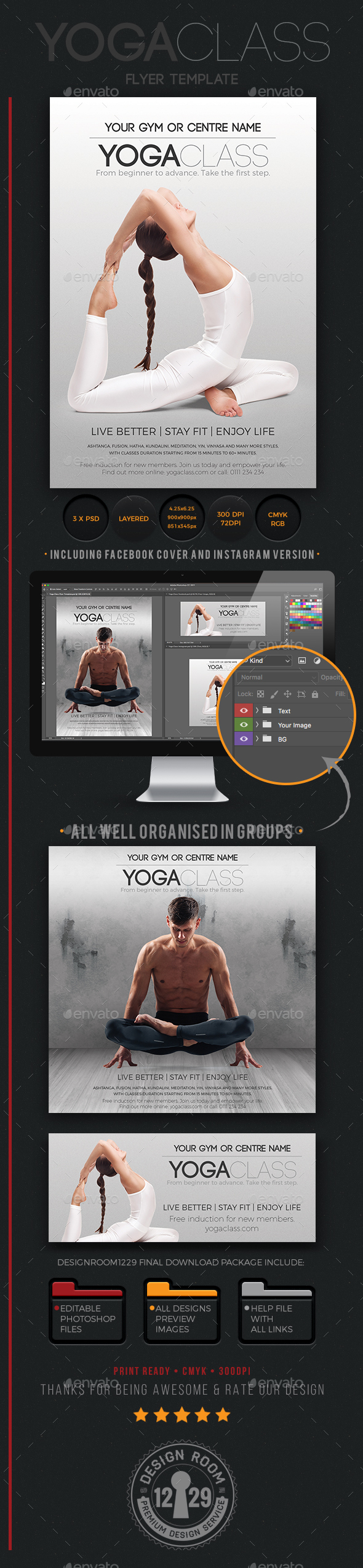 GraphicRiver Yoga Class Flyer Instagram & Facebook Templates 20526255