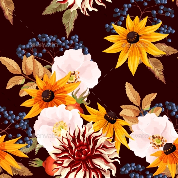 Seamless Pattern with Autumn Flowers - Flowers & Plants Nature